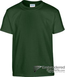 Gildan Children's Heavy Cotton T-Shirt-pantone 5535C Forest Green