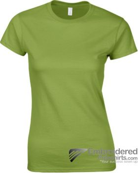 Gildan Ladies' Soft Style T-Shirt-pantone 5777C Kiwi