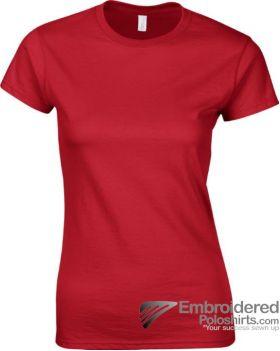 Gildan Ladies' Soft Style T-Shirt-pantone 7620C Red